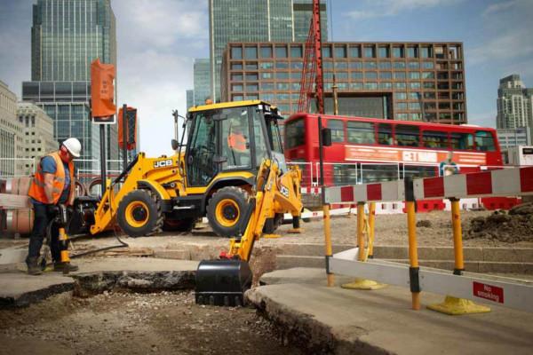 3CX backhoe loader at roadworks site